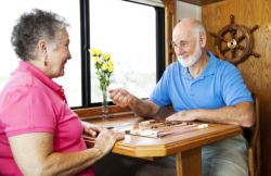 seniors playing backgammon